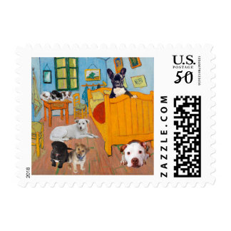 Cute Dogs in Van Goug's Bedroom Postage