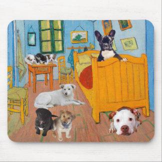 Cute Dogs in Van Goug's Bedroom v1 Mouse Pad
