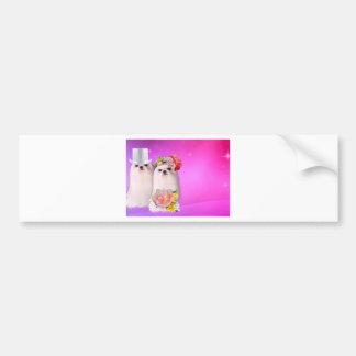 Cute dogs in wedding dress in pink background bumper sticker