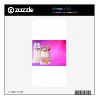 Cute dogs in wedding dress in pink background decals for the iPhone 4S