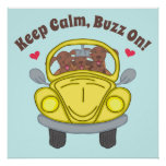 Cute Dogs In Yellow Bug Car Keep Calm Poster