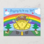 Cute Dogs In Yellow Bug Car Rainbow Hello Postcard