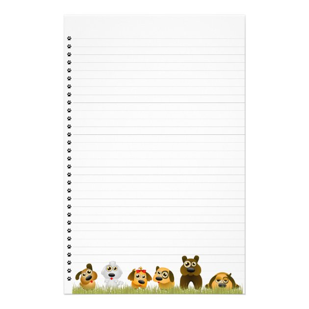 Cute Dogs Lined Stationery  Lined Stationary Template
