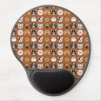 Cute Dogs on Brown Gel Mouse Pad