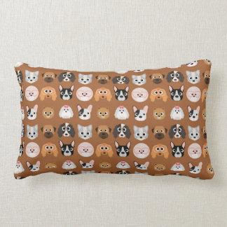 Cute Dogs on Brown Lumbar Pillow