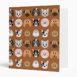 Cute Dogs on Brown Vinyl Binders