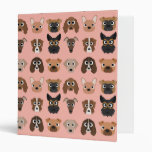 Cute Dogs on Pink 3 Ring Binder