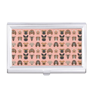 Cute Dogs on Pink Case For Business Cards
