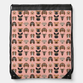 Cute Dogs on Pink Drawstring Backpack