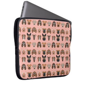 Cute Dogs on Pink Laptop Sleeve