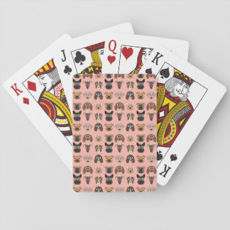 Cute Dogs on Pink Playing Cards