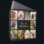 "Cute Dogs OR YOUR PHOTOS custom name laptop sleeve<br><div class=""desc"">Change any or all the images to your own photos,  and the text fields to what you want. You can also change the background color to any color of your choice by using the ""customize it"" function. See my store (PATTERNS > MONOGRAMS & FRAMES) for more custom photo products.</div>"