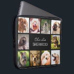 "Cute Dogs OR YOUR PHOTOS custom name laptop sleeve<br><div class=""desc"">Change any or all the images to your own photos,  and the text fields to what you want. You can also change the background color to any color of your choice by using the ""customize it"" function. See my store (PATTERNS &gt; MONOGRAMS &amp; FRAMES) for more custom photo products.</div>"