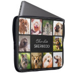 "Cute Dogs OR YOUR PHOTOS custom name laptop sleeve<br><div class='desc'>Change any or all the images to your own photos,  and the text fields to what you want. You can also change the background color to any color of your choice by using the ""customize it"" function. See my store (PATTERNS &gt; MONOGRAMS &amp; FRAMES) for more custom photo products.</div>"
