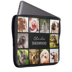 Cute Dogs Or Your Photos Custom Name Laptop Sleeve at Zazzle