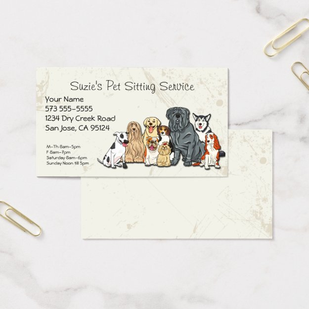 Cute Dogs Pet Sitting Service Business Card