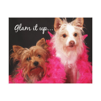 Cute Dogs with Feather Boas Glam it Up Canvas Print