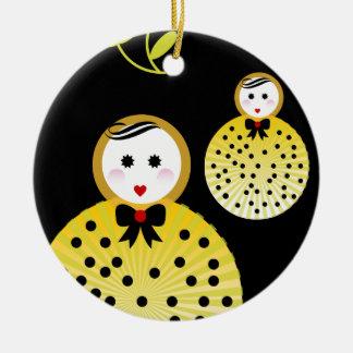Cute doll design Beebushka Ceramic Ornament