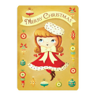 Cute Doll in Red Dress Vintage Christmas Card