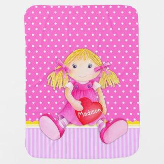 Cute doll pink girls name heart baby blanket