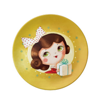 Cute Doll Vintage Christmas Plates