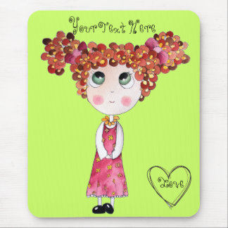 Cute Doll with Pink Dress Green Mousepad