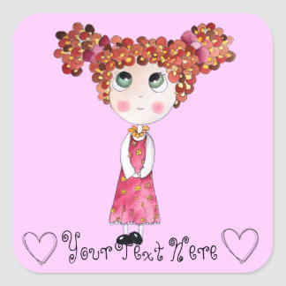 Cute Doll with Pink Dress Sticker