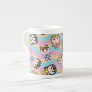 Cute Dolls Vector Pattern Bone China Mug