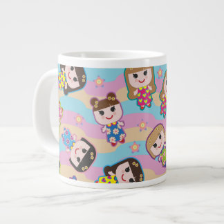 Cute Dolls Vector Pattern Jumbo Mug