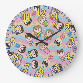 Cute Dolls Vector Pattern Large Round Clock