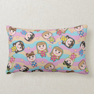 Cute Dolls Vector Pattern Lumbar Pillow