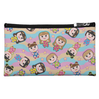 Cute Dolls Vector Pattern Makeup Bag