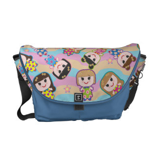 Cute Dolls Vector Pattern Messenger Bag