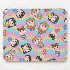 Cute Dolls Vector Pattern Mousepad