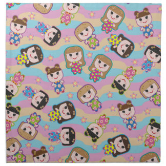 Cute Dolls Vector Pattern Napkin