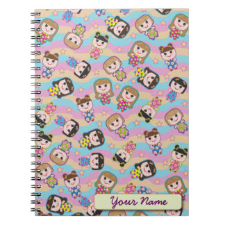 Cute Dolls Vector Pattern Notebook