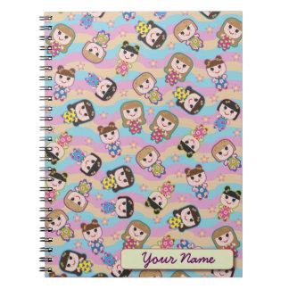 Cute Dolls Vector Pattern Notebook