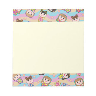 Cute Dolls Vector Pattern Notepad