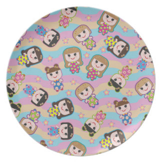 Cute Dolls Vector Pattern Plate