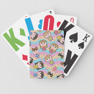 Cute Dolls Vector Pattern Playing Cards