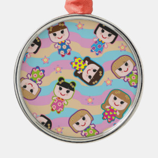 Cute Dolls Vector Pattern Premium Round Ornament