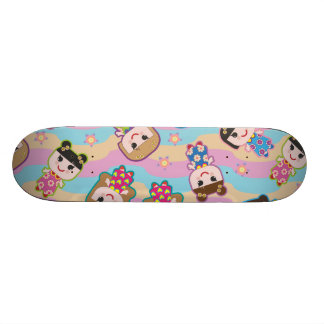 Cute Dolls Vector Pattern Skateboard
