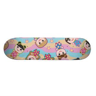 Cute Dolls Vector Pattern Skateboard