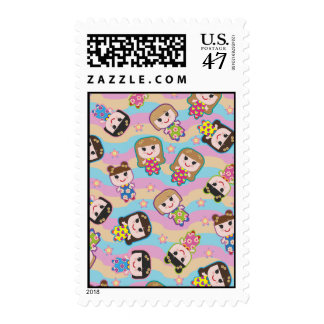 Cute Dolls Vector Pattern Stamp