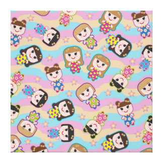 Cute Dolls Vector Pattern Wrapped Canvas
