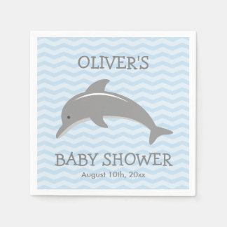 Cute dolphin and blue chevron baby shower napkins