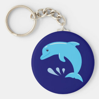 Cute Dolphin Basic Round Button Keychain