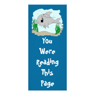 Cute Dolphin Bookmark Template Personalized Rack Card