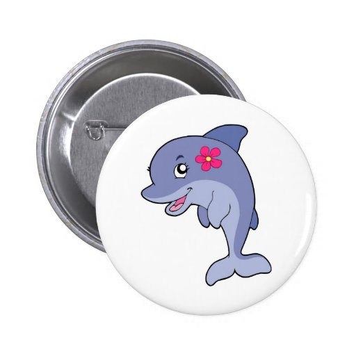 Cute dolphin girl with flower 2 inch round button