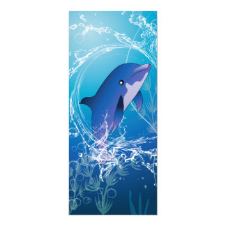 "Cute dolphin 4"" x 9.25"" invitation card"